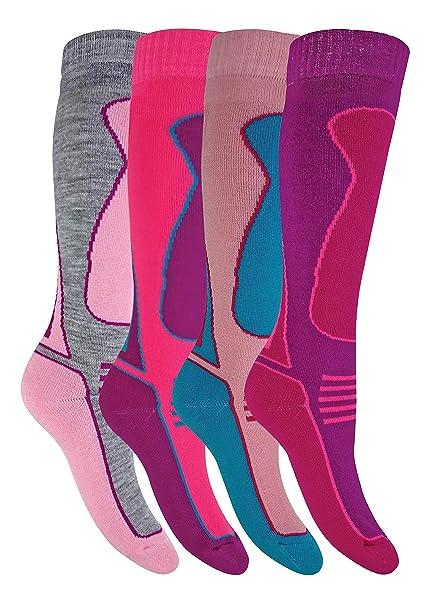 Amazon.com  4 Pack Mens Womens Kids Extra Warm Winter Knee High Padded Wool  Blend Ski Socks  Clothing 540212d141