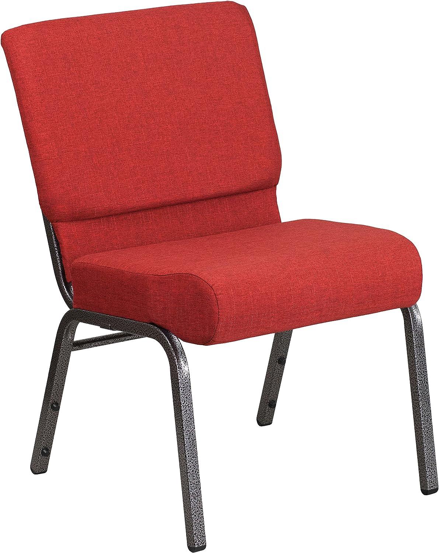 Flash Furniture HERCULES Series 21''W Stacking Church Chair in Crimson Fabric - Silver Vein Frame