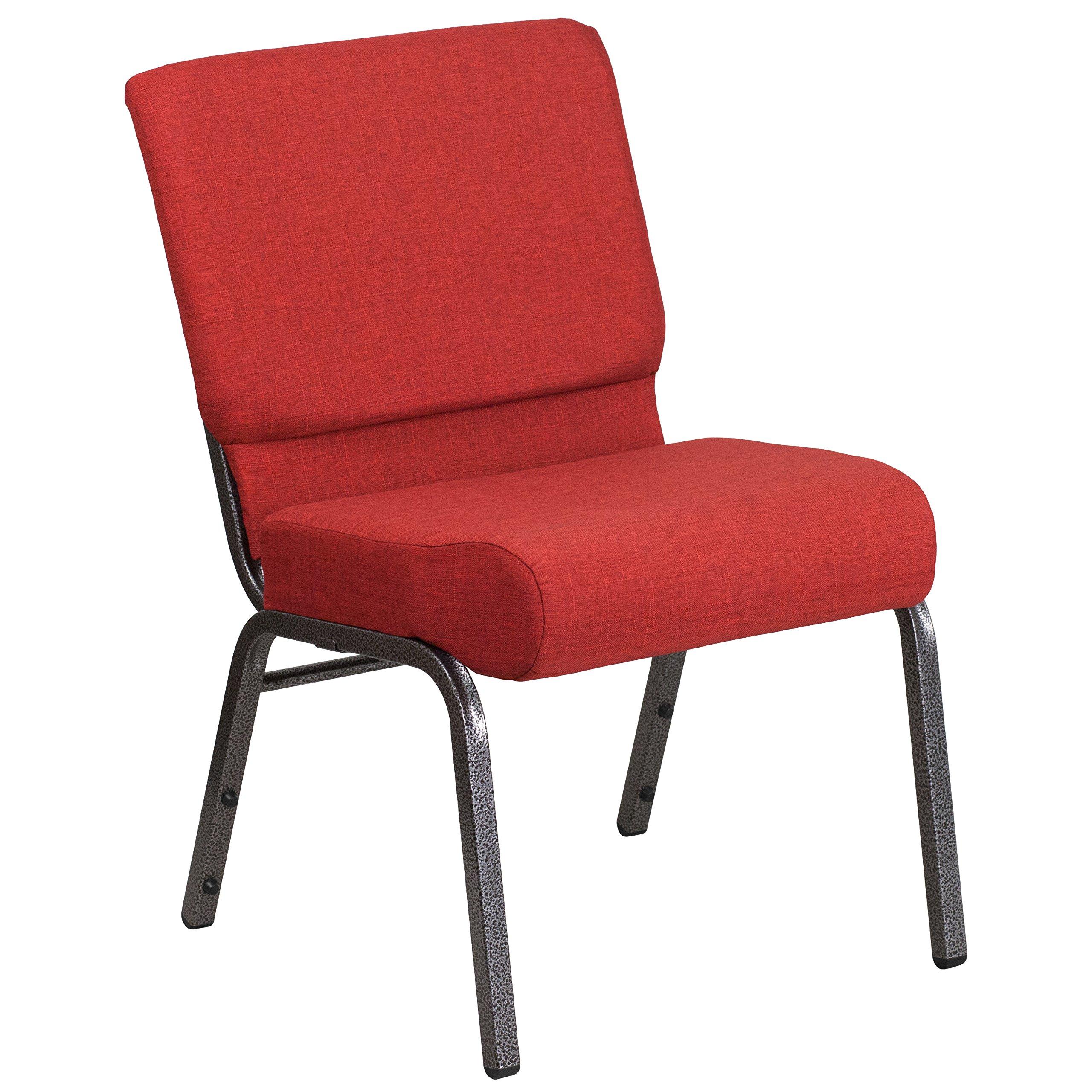 Flash Furniture HERCULES Series 21''W Stacking Church Chair in Crimson Fabric - Silver Vein Frame by Flash Furniture
