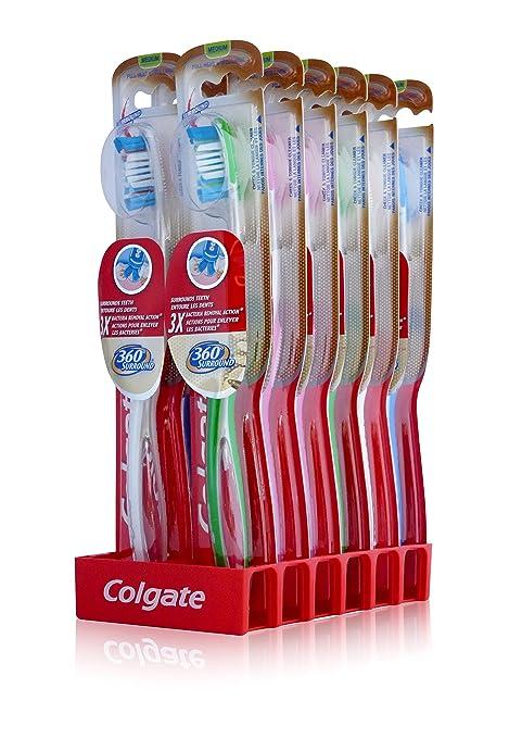 12X COLGATE 360 con protección en el borde de instrucciones de cepillos de dientes del de