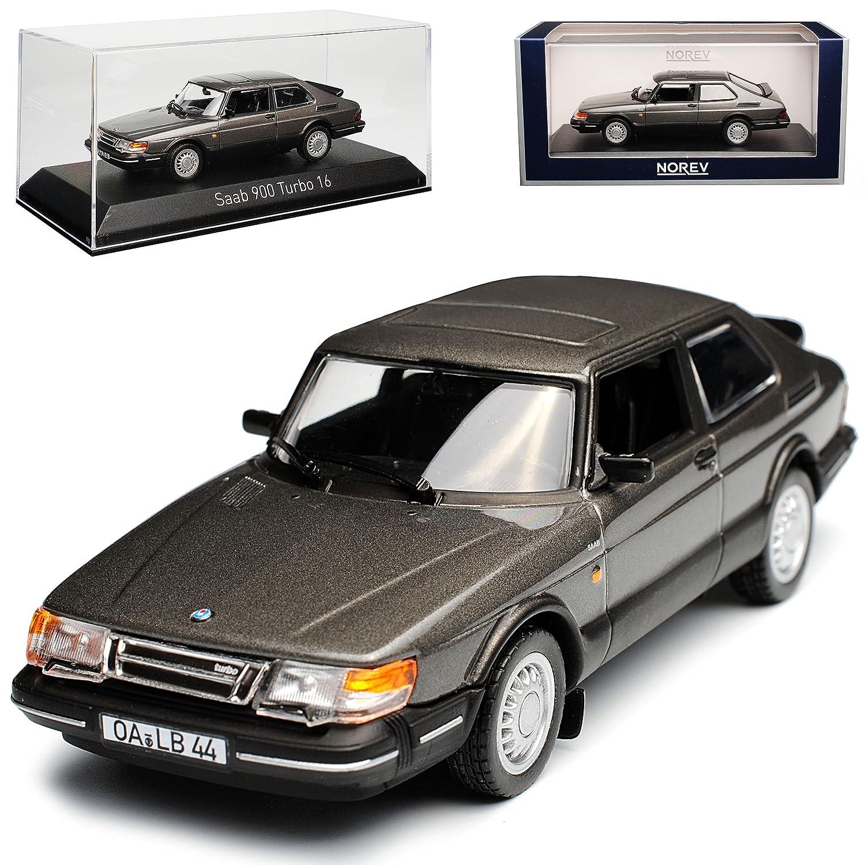 alles-meine GmbH Saab 900 Turbo 16 Grau Metallic Coupe 1991 Generation 1978-1994 1/43 Norev Modell Auto mit individiuellem Wunschkennzeichen