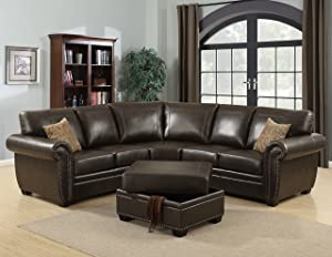 Christies Home Living 3-Piece Louis Traditional Fabric Living Room Sectional and Storage Ottoman with Accented Nail Head Trim, Brown