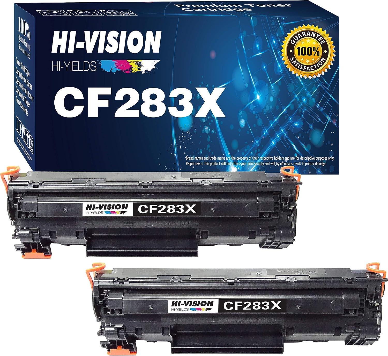 (2-Pack, Black) HI-Vision Compatible HP 83X 283X CF283X Toner Cartridge for HP Laserjet Pro MFP M127fw M127fn M125nw M201dw M201n M225dn M225dw M125a Series Printer