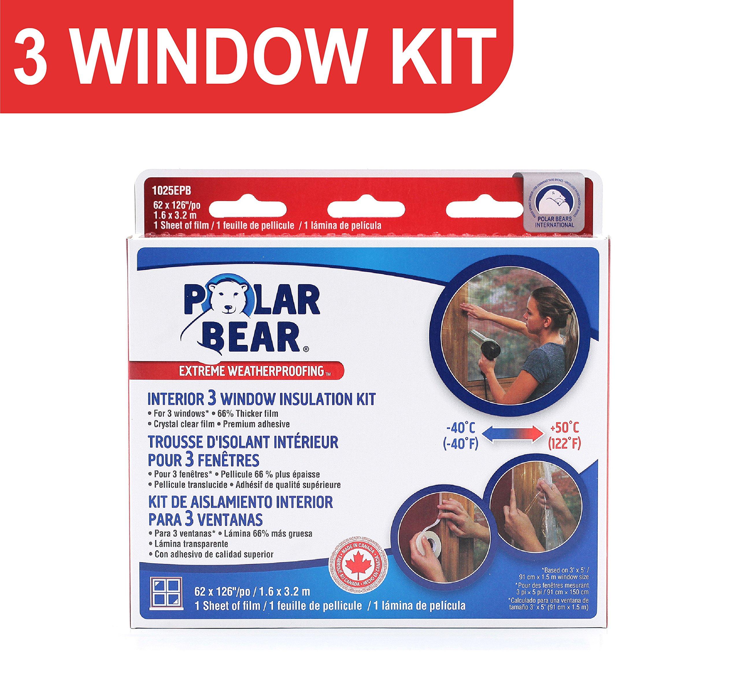 Polar Bear Weatherproofing EXTREME 3 Window Insulation Film Kit - 62 Inch x 126 Inch - 66% Thicker - Crystal Clear Film