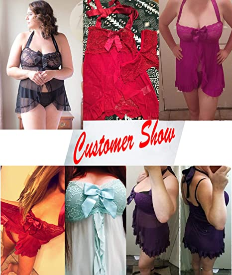 3d14f7f751 Amazon.com  Avidlove Women Nightwear Lace Babydoll Strap Chemise Halter  Lingerie  Clothing