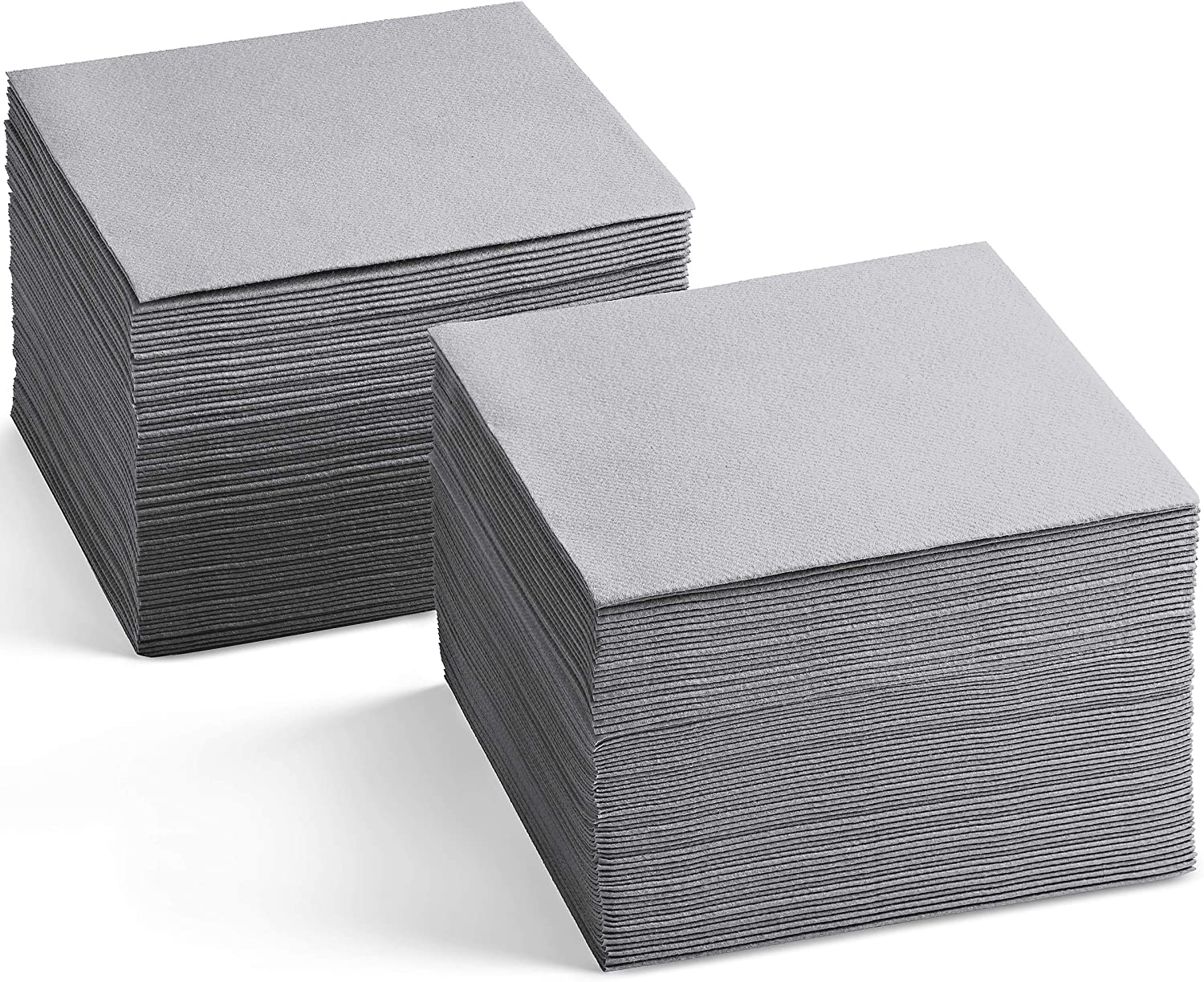 Linen-Feel Colored Cocktail Napkins - Decorative Cloth-Like GRAY Dessert And Beverage Napkins - Soft And Absorbent. For Restaurant, Bar, Café, Or Event. (Pack of 200)