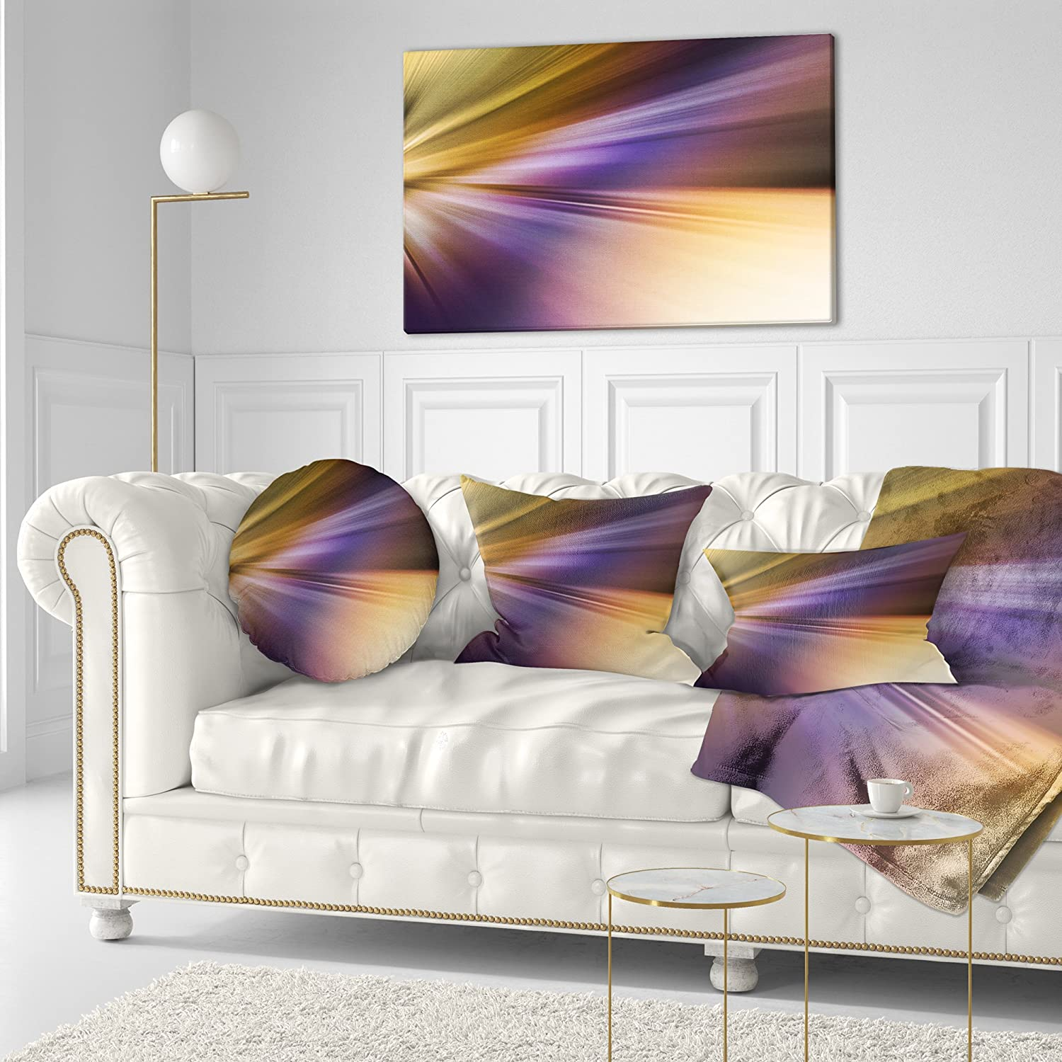 in Designart CU8137-12-20 Rays of Speed Purple Brown Abstract Lumbar Cushion Cover for Living Room Sofa Throw Pillow 12 in x 20 in Insert Printed On Both Side
