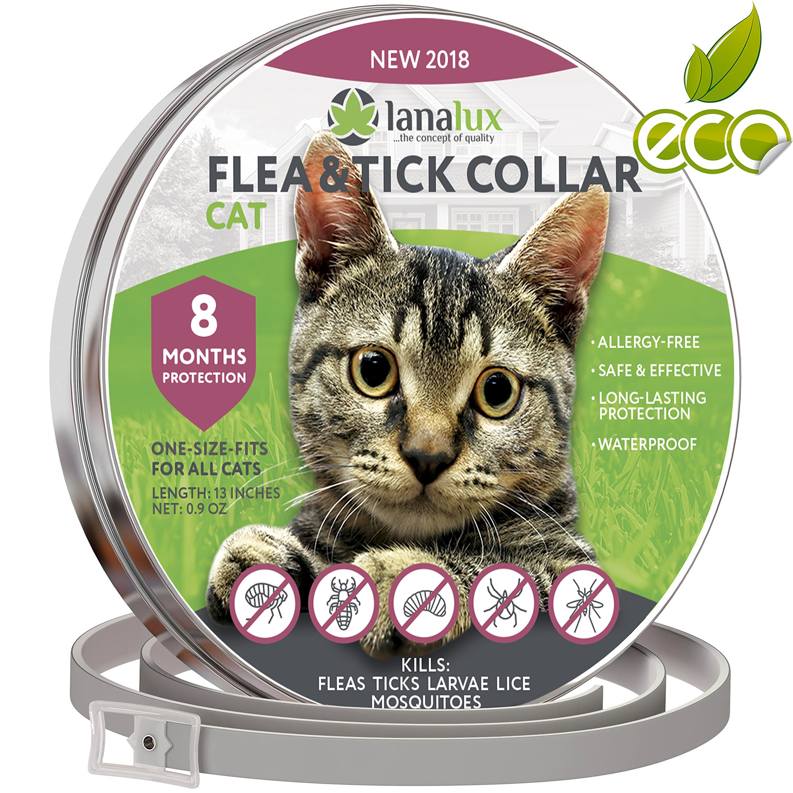 Cat flea Collar Pet Essential Oil Pest Control Collars Flea Tick Prevention Cats 8 Months Flea Control & Cat Flea Treatment Kitten Collar Natural Plant Extracts One Size Fits All