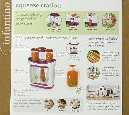 Baby Entw/öhnung Pouch Kit System Handbuch Babynahrungszubereiter Quetschie Zubereiter mit 10 Quetschbeutel pologyase Infantino Squeeze Station