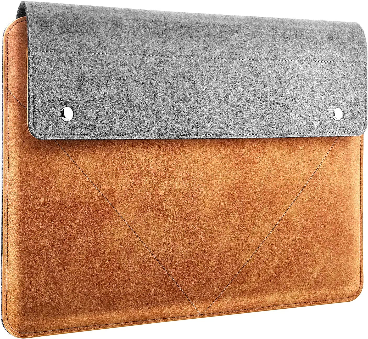 "MoKo Laptop Sleeve Fits MacBook Air 13-inch Retina, MacBook Pro 13"", Dell XPS 13, Asus ZenBook, HP Acer Lenove 13-13.3 Inch Notebook Computer, Felt and PU Leather Case Bag with Pocket - Gray & Brown"