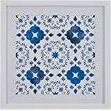"Amazon Brand – Stone & Beam Boho Blue and White Print Wall Art, White Frame, 14"" x 14"""