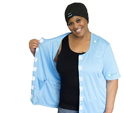 ceb674fcff Breast Cancer Shirt Mastectomy Clothing With Drain Pockets Soft As Feathers  Blue Small