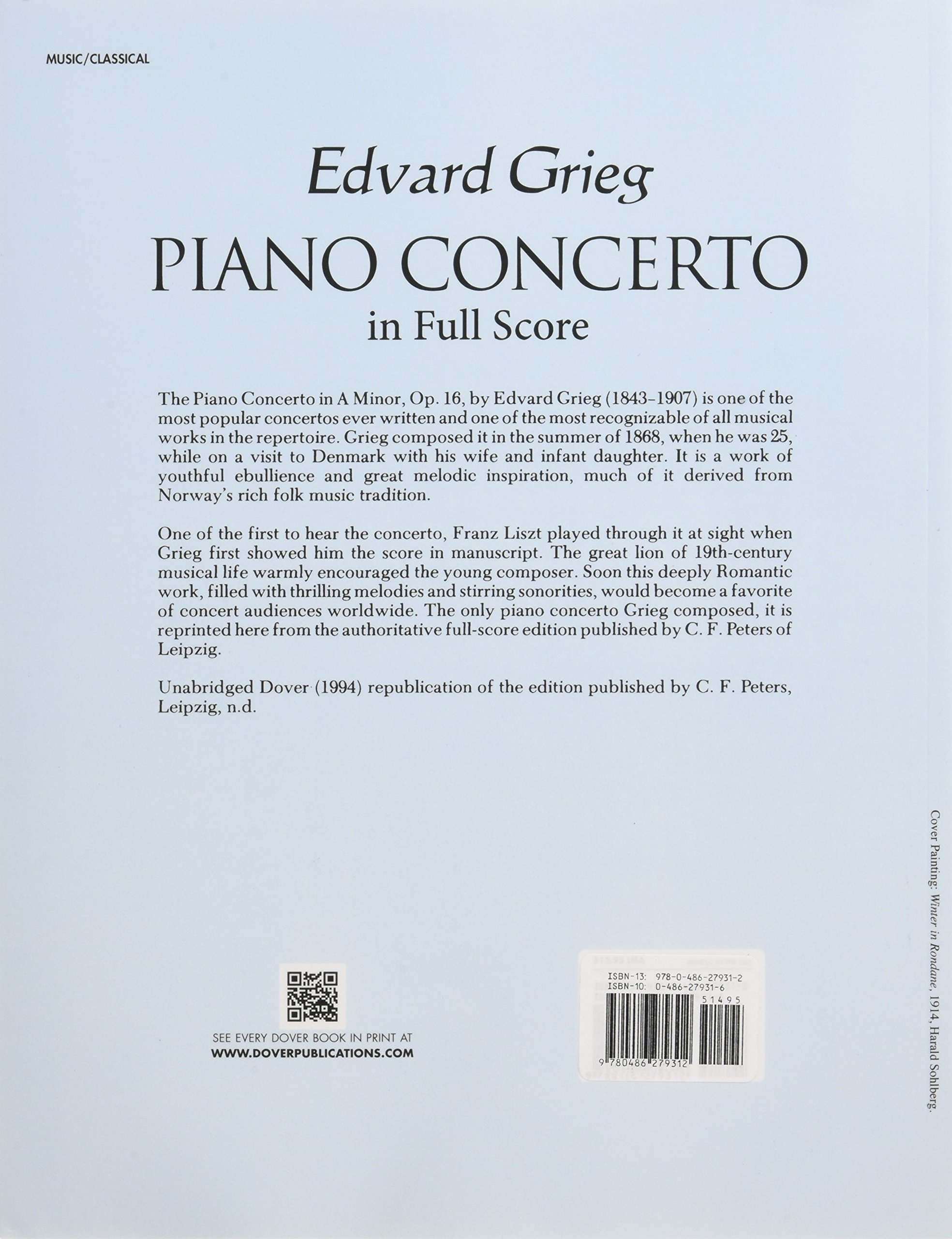 Piano Concerto in Full Score (Dover Music Scores): Edvard Grieg:  9780486279312: Amazon.com: Books