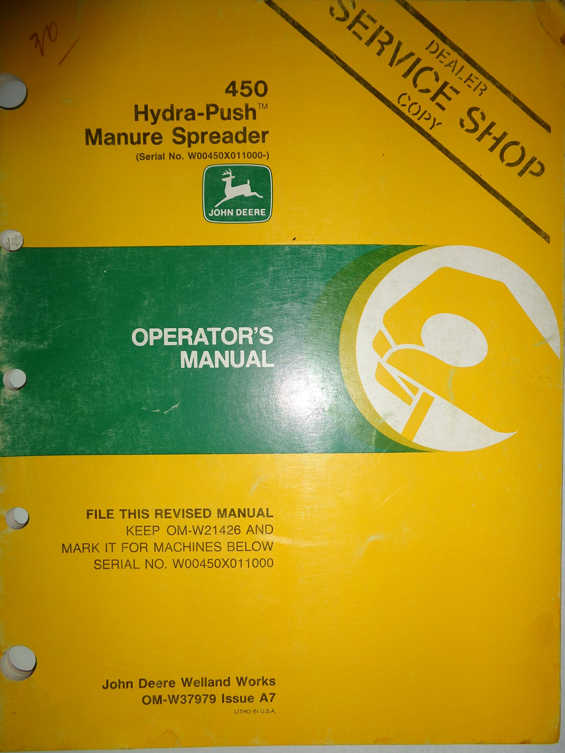 John Deere 450 Manure Spreader Operators Manual 6/87 A7: Deere: Amazon.com:  Books