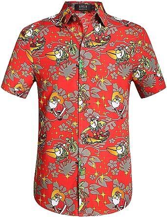 2d211581 SSLR Men's Xmas Santa Button Down Casual Hawaiian Ugly Christmas Shirts ( Small, ...