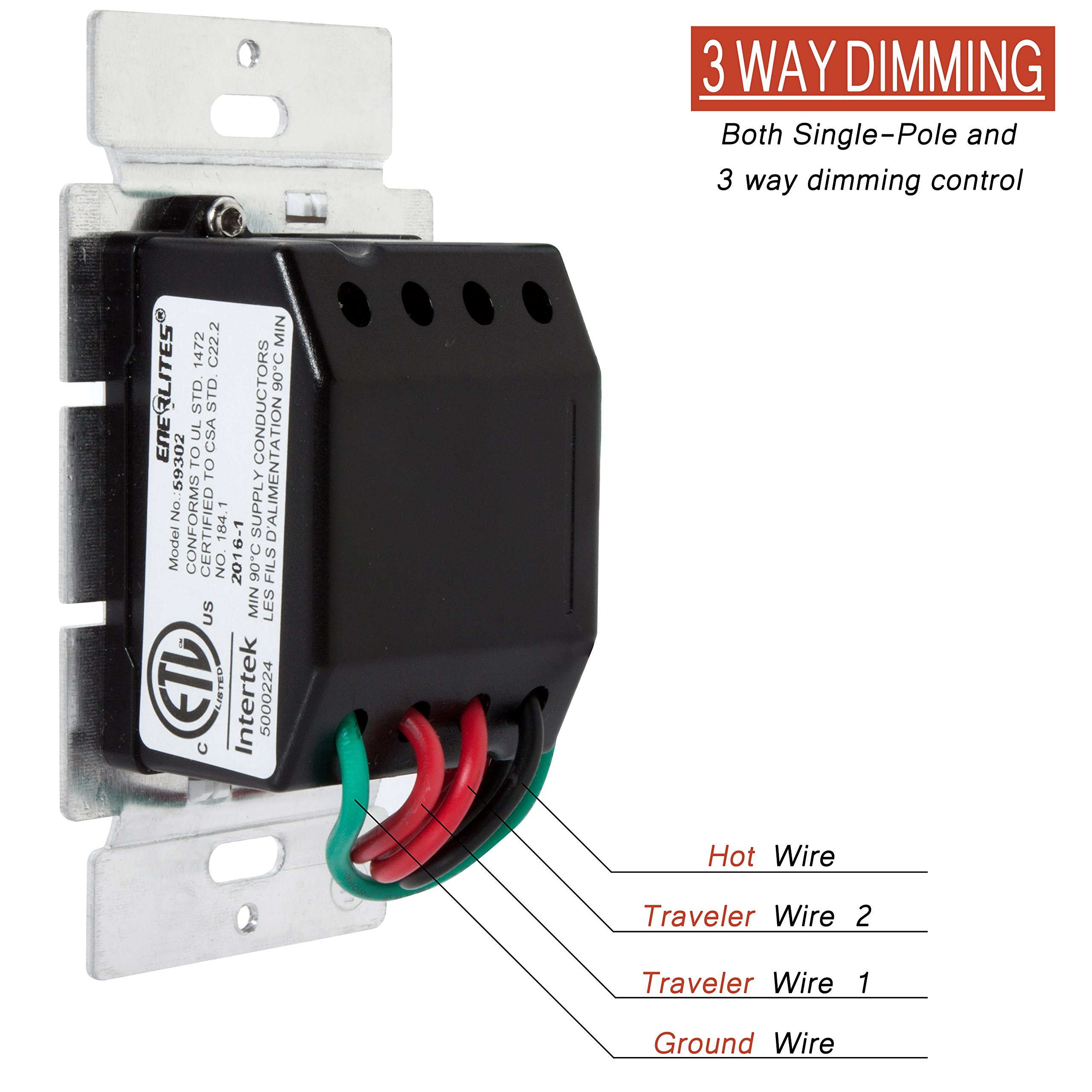 Enerlites Light Switch Dimmer Led 59302 W 3 Way In Wall Multi Location For Dimmable Cfl Incandescent