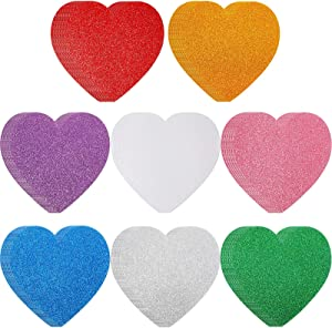 24 Pieces 6 Inch Heart Foam Stickers Large Glitter Heart Stickers Valentines Day Self-Adhesive Heart Sticker Colorful Heart Shape Foam Stickers for Home Decor Arts Craft Greeting Card Supplies