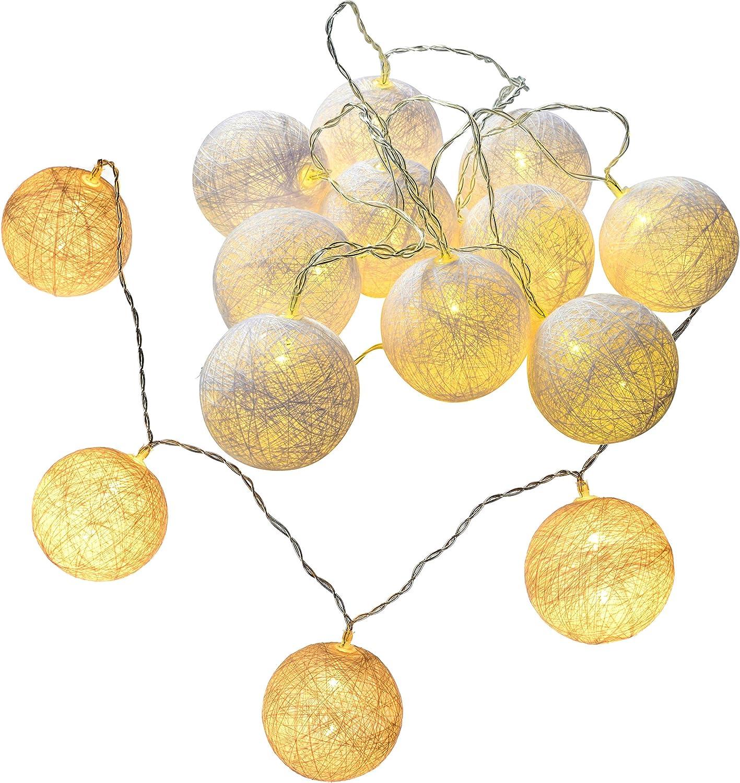 WeRChristmas – 10 Blanco cálido Bola de algodón LED Cadena de ...