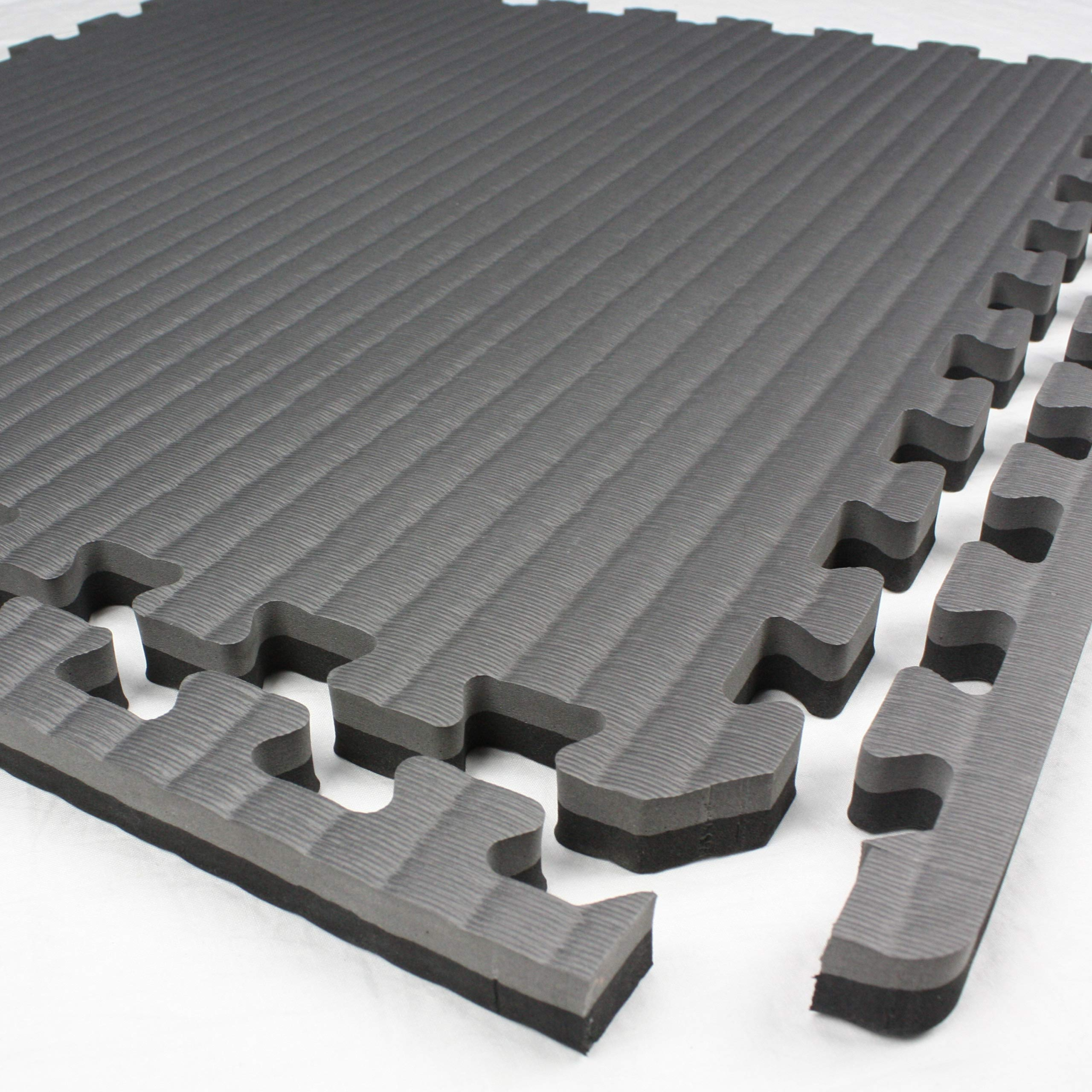 IncStores - Tatami Foam Tiles - Extra Thick mats Perfect for Martial Arts, MMA, Lightweight Home Gyms, p90x, Gymnastics, Yoga and Cardio (Black/Grey, 16 (3'x3') Tiles, 144 Sqft + Borders) by IncStores (Image #4)