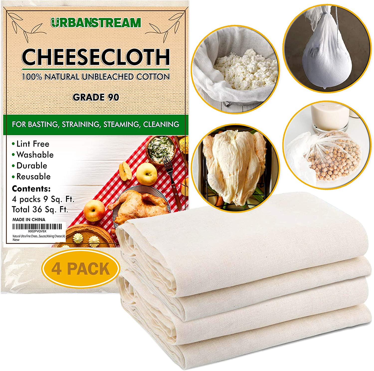 Cheesecloth, Grade 90, 36 Sq Feet, Reusable, 100% Unbleached Cotton Fabric, Ultra Fine Cheesecloth for Cooking, Nut Milk Bag, Strainer, Filter, 4Yards