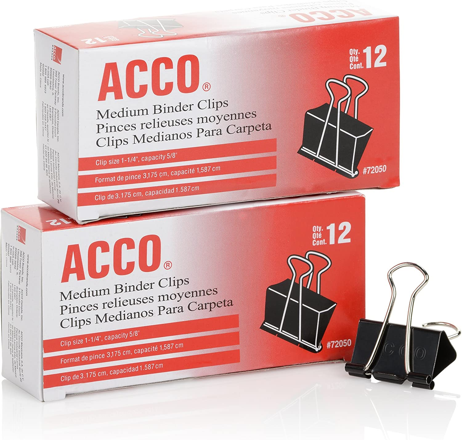 ACCO Binder Clips, Medium, Black, 12 per Box, 2 Boxes (72062) : Office Products