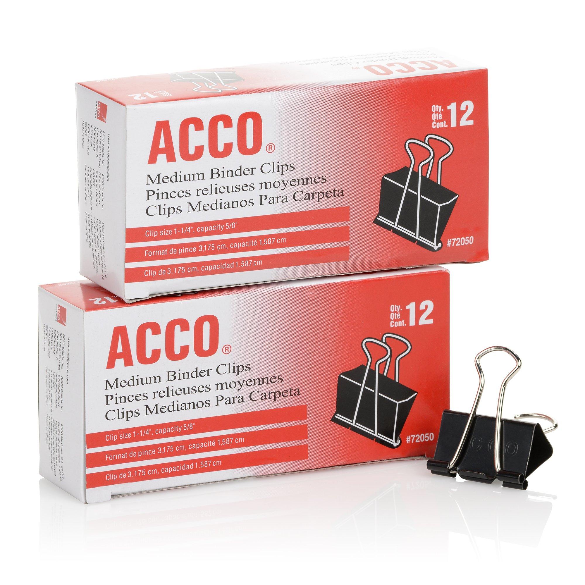 Acco Brands Binder Clips Medium 12 Per Box 2 Boxes