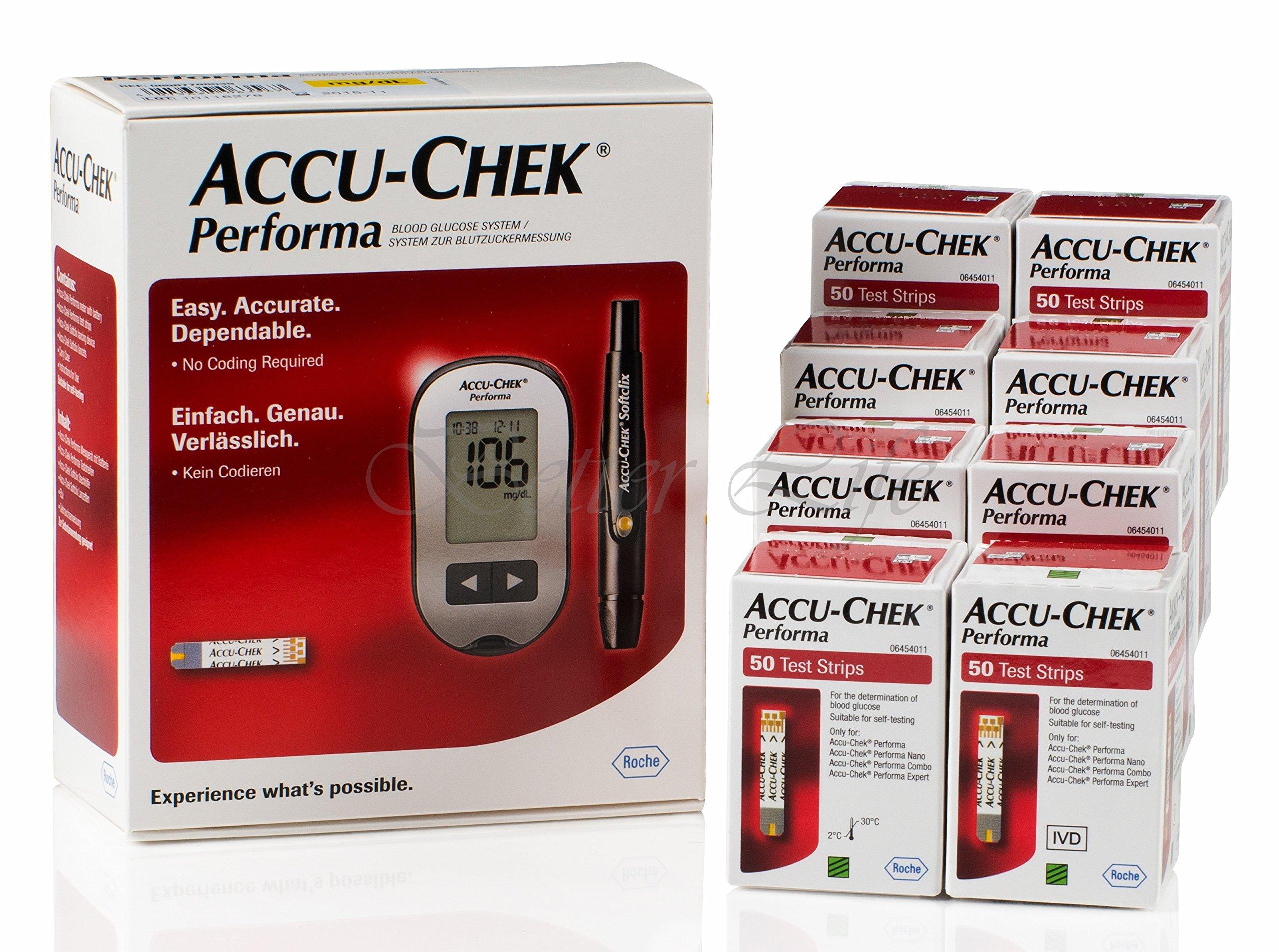 410 Accu Chek Performa Test Strips Plus Free Glucometer Kit Lancets Multiclix