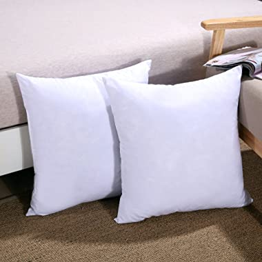 Homelike Moment Down Feather Pillow Insert 20X20 Couch Throw Pillow Insert Set of 2 100% Cotton Fabric