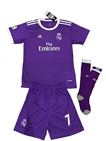 24e5aa26a REAL MADRID 2016 2017 KIDS KITS WITH FAMOUS PLAYER NAME AND NUMBER (AWAY  RONALDO