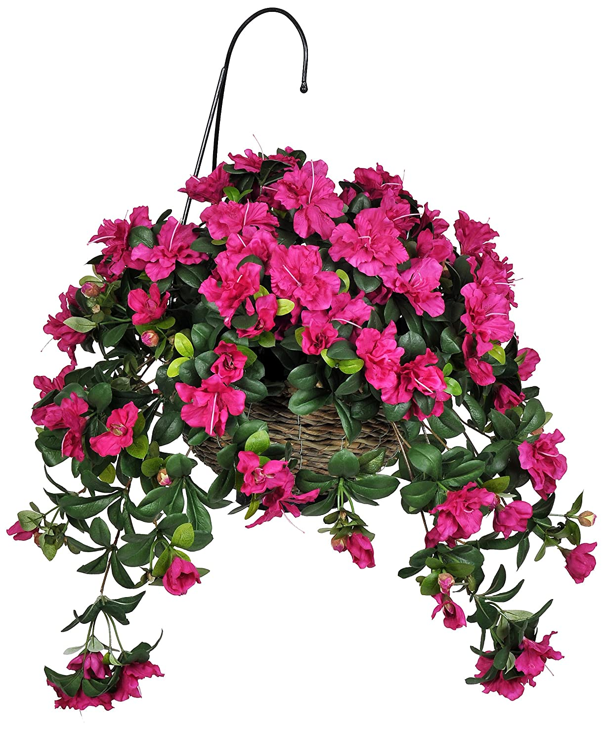 Amazon house of silk flowers artificial red azalea hanging amazon house of silk flowers artificial red azalea hanging basket home kitchen dhlflorist Gallery