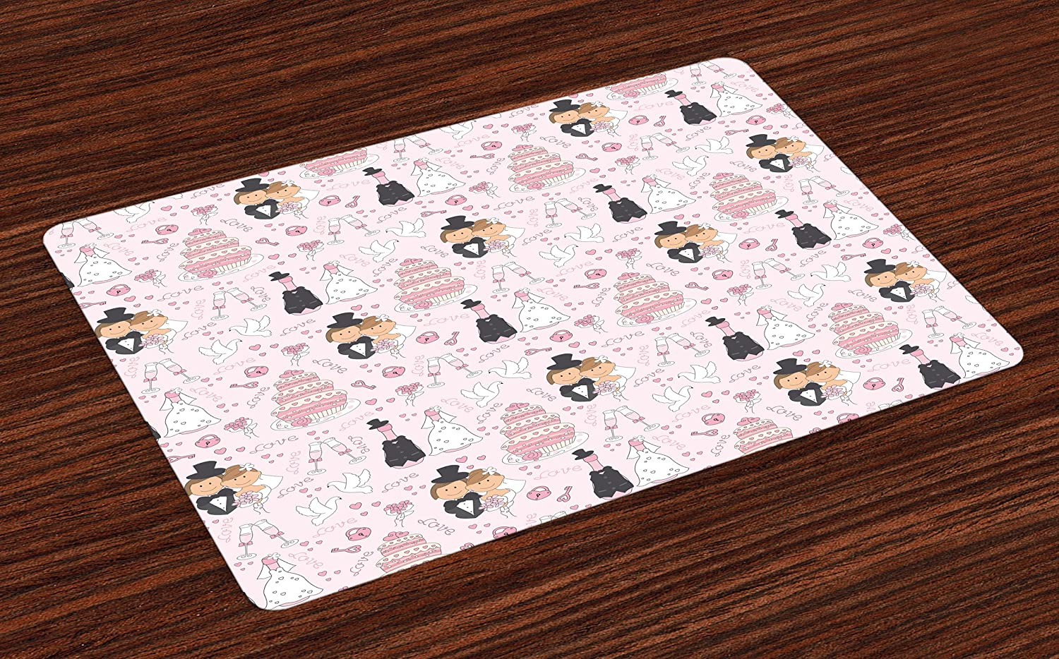 Ambesonne Wedding Place Mats Set of 4, Hand Drawn Pattern of Couple Getting Married Celebration Cakes Flowers Drinks, Washable Fabric Placemats for Dining Room Kitchen Table Decor, Pink White Black