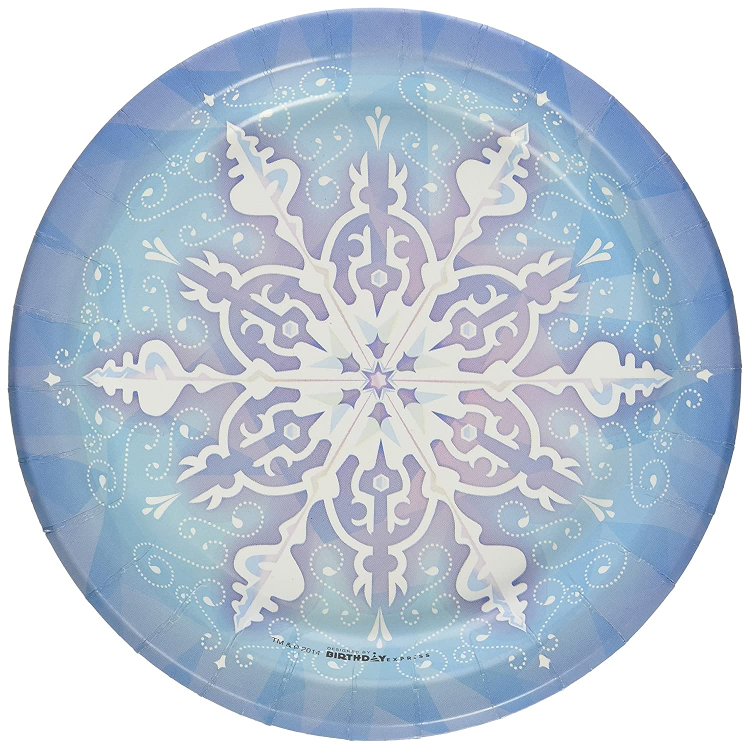 Snowflake Winter Wonderland Christmas Party Supplies Dessert Plates (8)