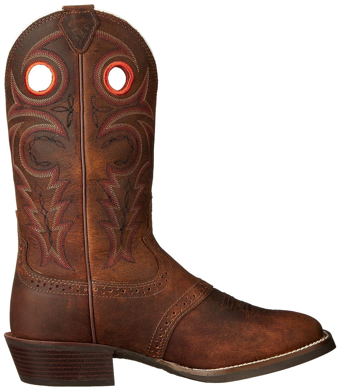 Amazon.com : Justin Men's Silver Saddle Vamp Cowboy Boot Square ...