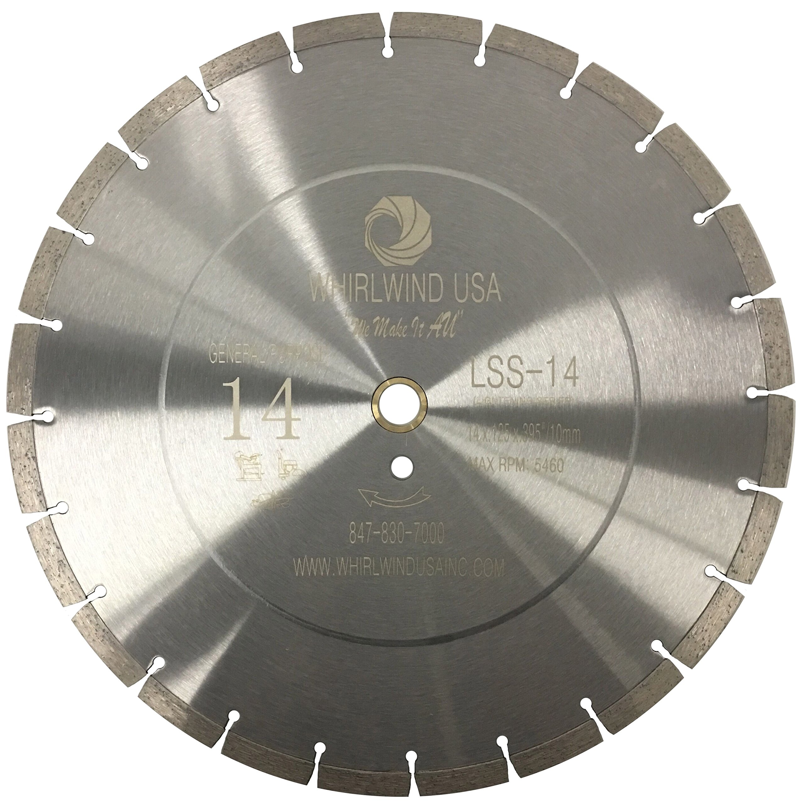 Whirlwind USA LSS 14 in. Dry or Wet Cutting General Purpose Power Saw Segmented Diamond Blades for Concrete Stone Brick Masonry (14'')