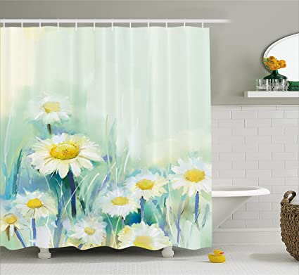 Amazon.com: Ambesonne Watercolor Flower Home Decor Shower Curtain ...