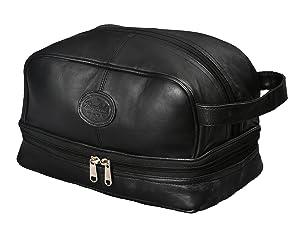 Mens Toiletry Bag Shaving Dopp Case for Travel by Bayfield Bags (Black) Men's Shower Bag for Bathroom Hygiene. Holds Beard Trim Kit Accessories and Body Shavers.
