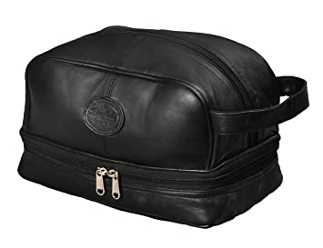 006600f2936a Mens Toiletry Bag Shaving Dopp Case For Travel by Bayfield Bags (Black)  Men s Shower
