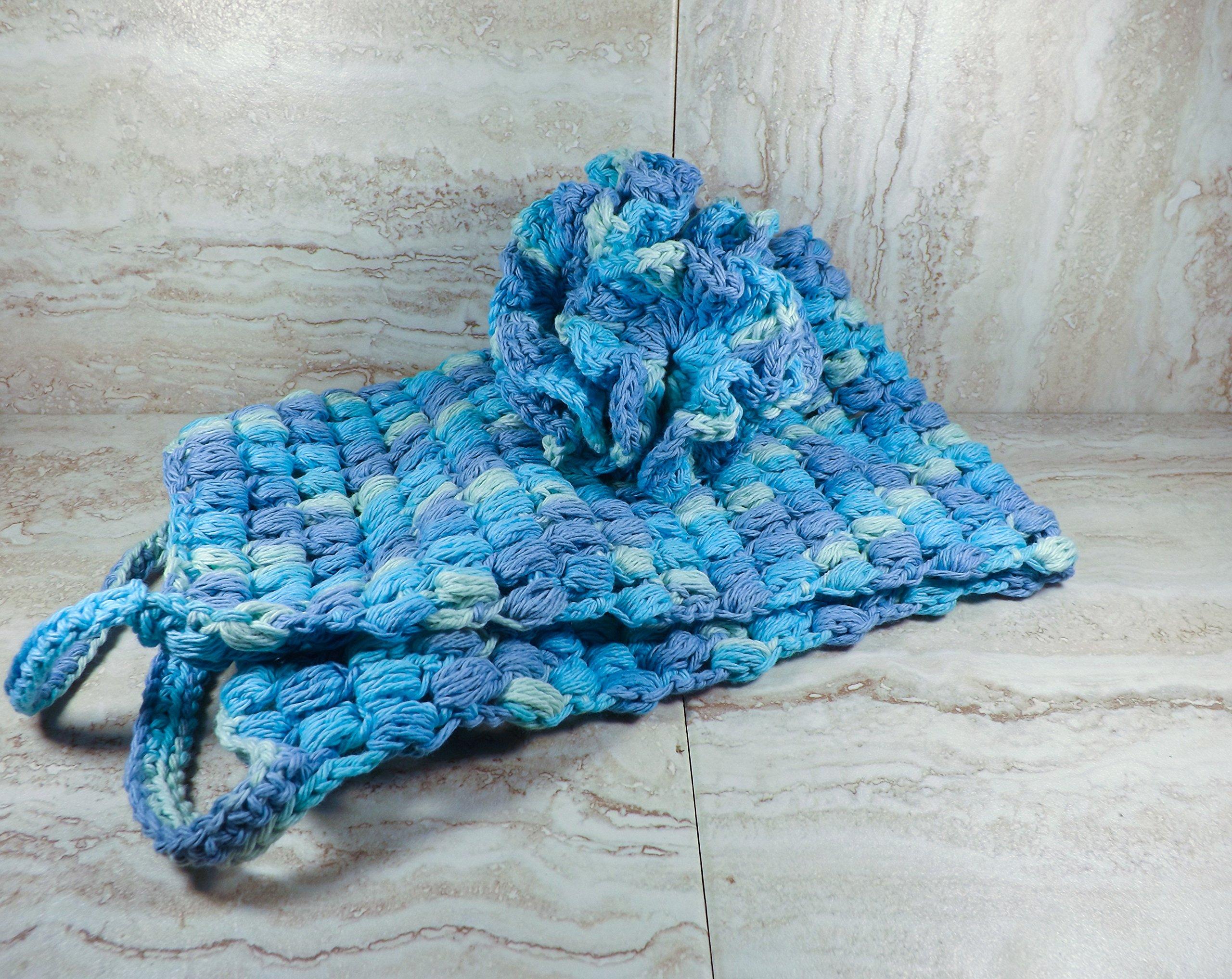 Blue Crochet Bath Pouf and Back Scrubber Set