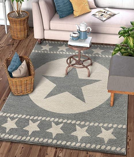 Amazon Com Well Woven Caspian Lone Star Grey Texas Area Rug 5x7 5 3 X 7 3 Home Kitchen