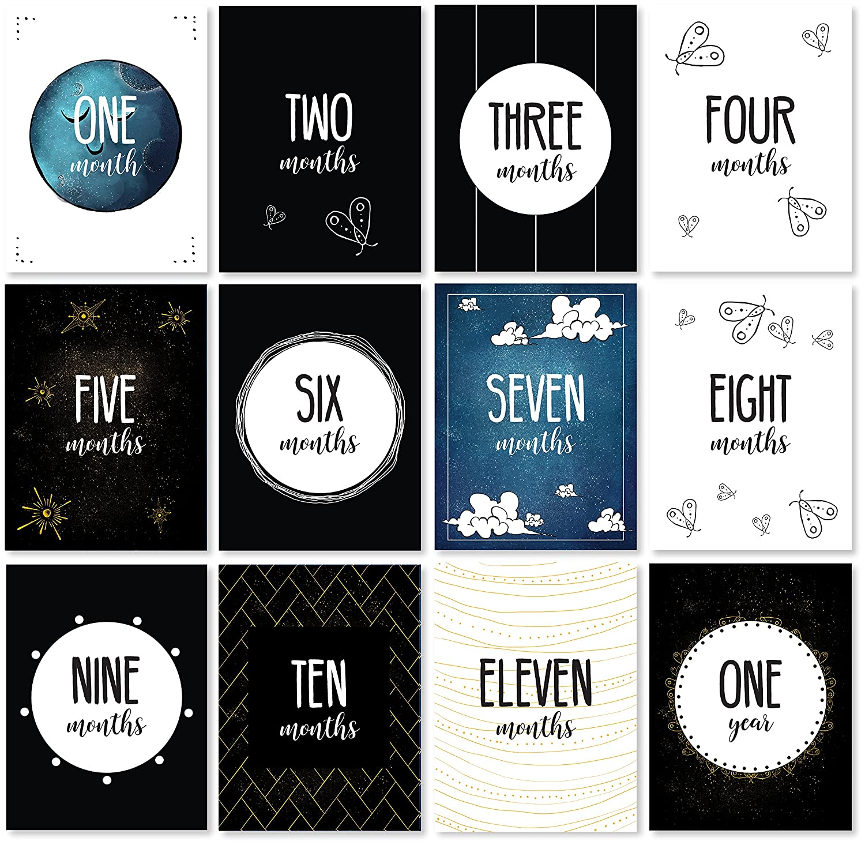 12 Cards Original Design to The Moon Series Giraffe /& a Calf Monthly Photo Cards Baby Milestone Cards JumpOff Jo 24 Milestones