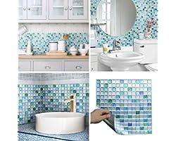 "Beaustile Decorative Tile Stickers Peel Stick Backsplash Fire Retardant Tile Sheet (Sapphire Blue) (2pcs) (12.2"" x 12.2"")"