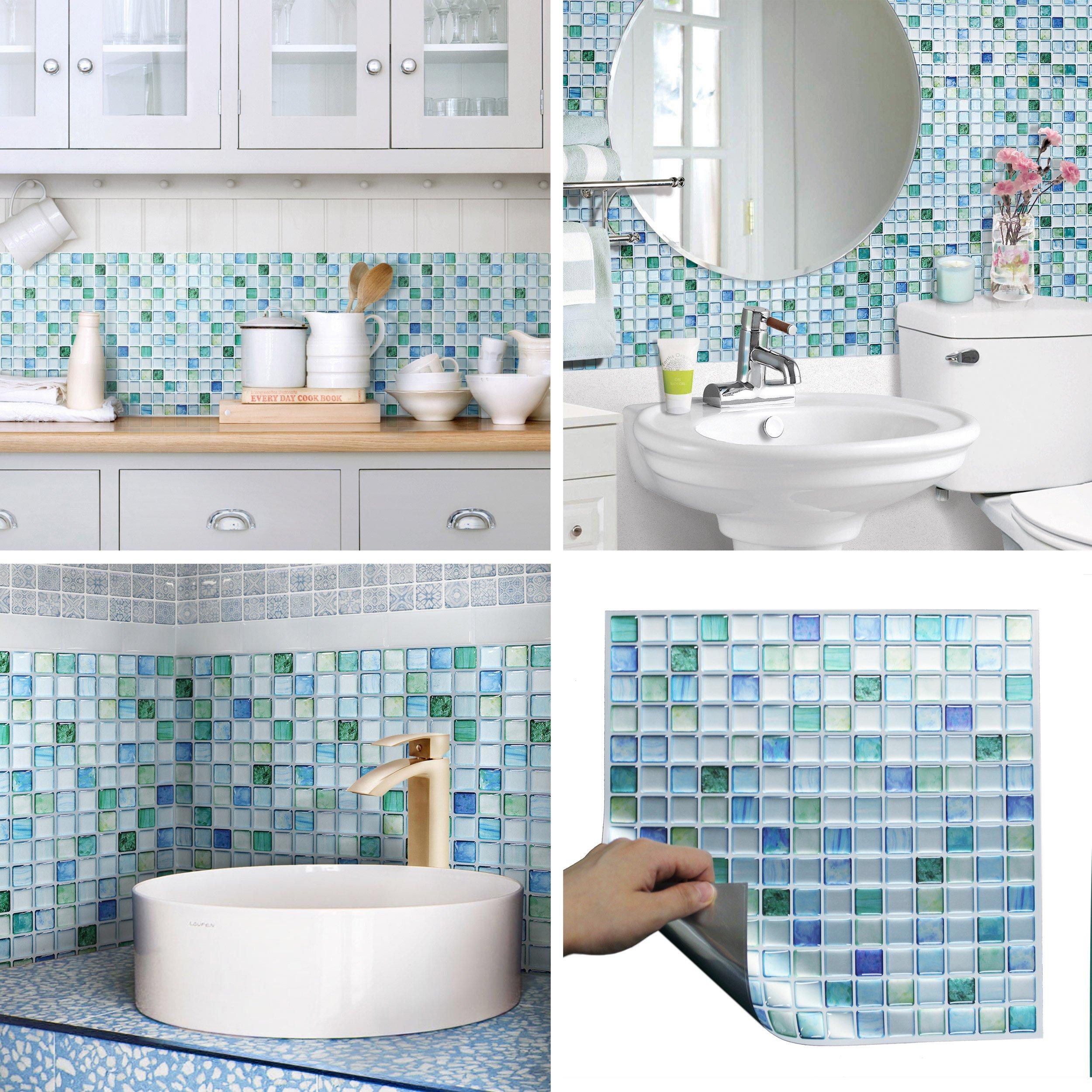 Beaustile Decorative Tile Stickers Peel Stick Backsplash Fire Retardant Tile Sheet (Sapphire Blue) (5pcs)