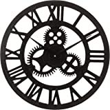 LIVIVO Traditional Vintage Style Black Wooden Wall Clock with Roman Numerals and Clockwork Mechanism Design - Stylish and Elegant 40cm Open Back Skeleton Wooden Frame - Great with any Decor