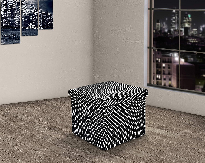 Black, 38x38 cms Velosso Ritz Sparkle Bling Foldaway Ottoman Stool Blanket Box Bench