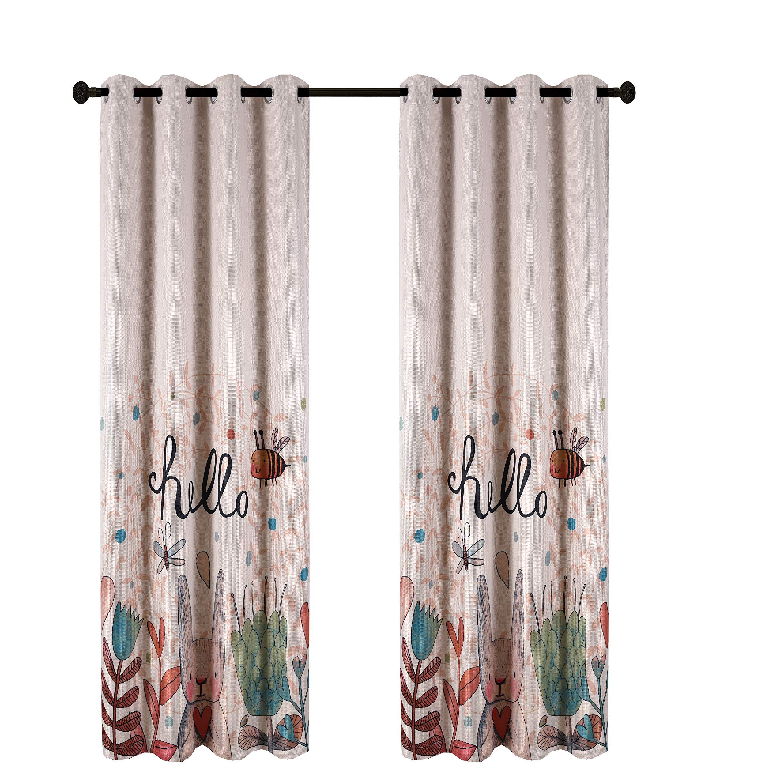 Taisier Home Cartoon Theme Baby Curtians for Nursery Girls,84 Inch Length for Childrens Bedroom Bunny Bee Dragonfly with Natural Style Design,1 Panel Set Ring Top Style Lovely Curtain Drapes by Taisier Home