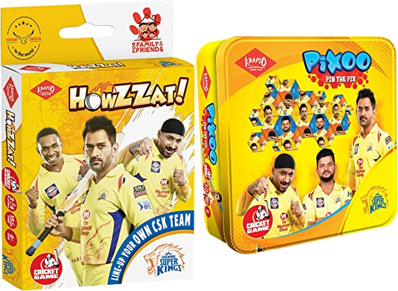 Kaadoo Howzzaat!-CSK Cricket card game and Pixoo-CSK-Cricketer Puzzle Game