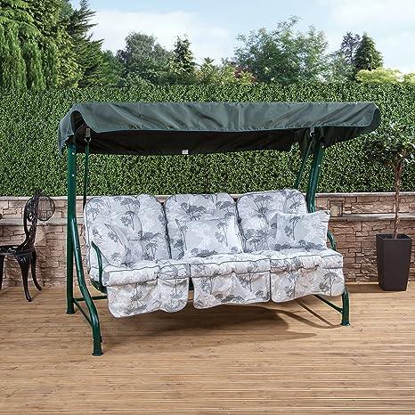 Roma 3 Plazas jardín Columpio Asiento – Verde con Marco Classic Cojines en una selección de Impresiones, Francesca Grey: Amazon.es: Jardín