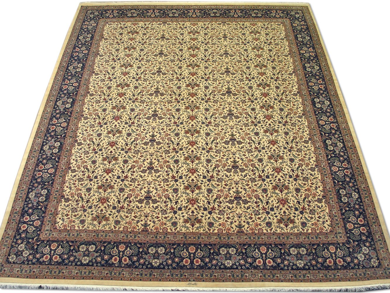 Hecho a mano tradicional persa alfombra Isfahan, lana, color blanco, 365 x 467 cm