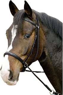 USG Bitless Bridle Connection with Noseband/Web Reins, FulLarge, Black Leather/Black