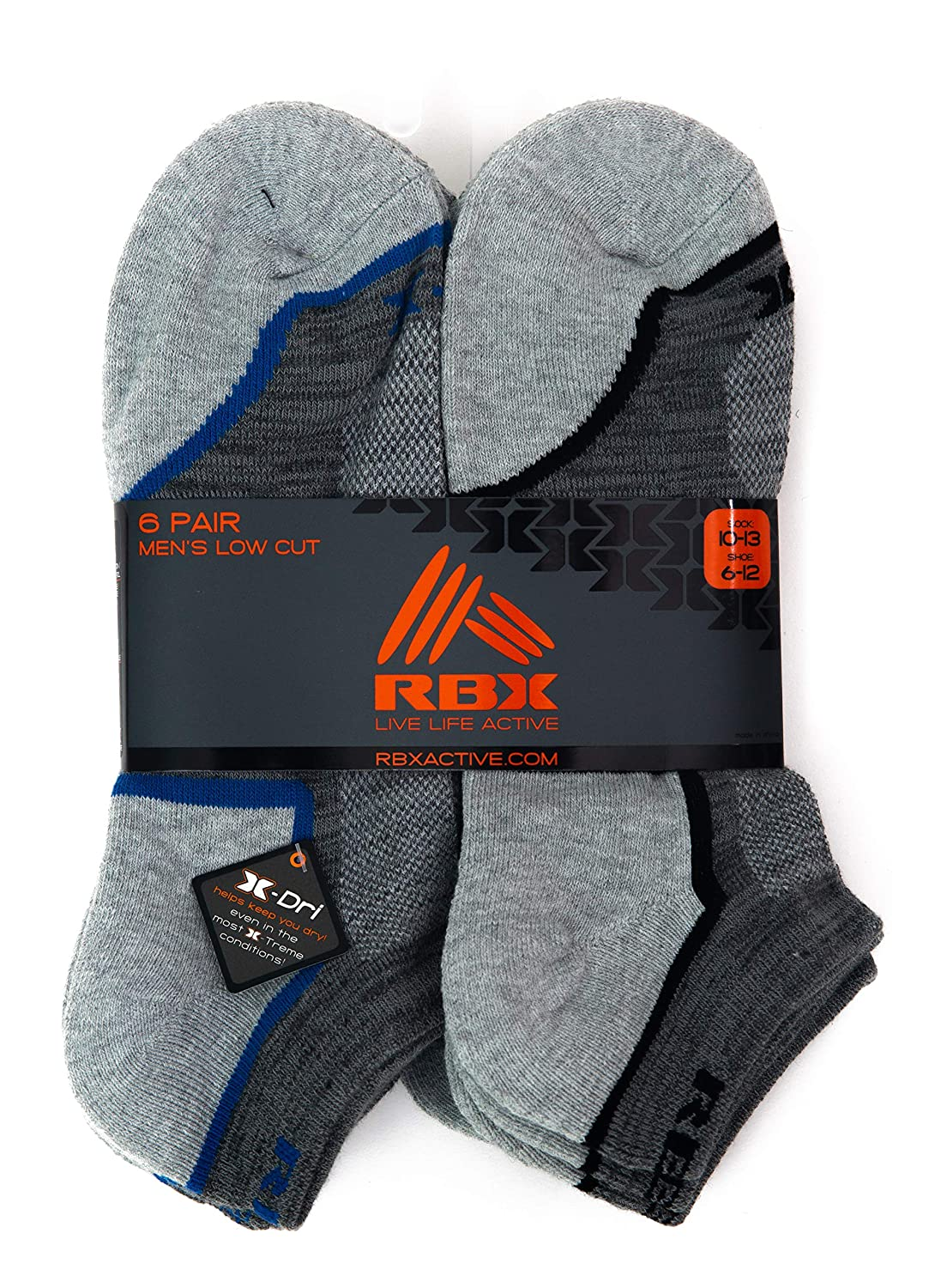 RBX Active 6 Pack Mens Low Cut Casual Cushioned Socks